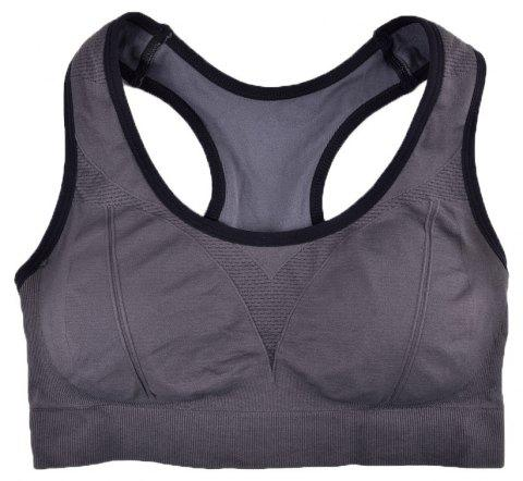 Comfortable Ladies Yoga Sports Bra Breathable Seamless Fabric Supportive - GREY T4503/1001 L