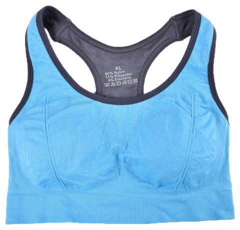 Comfortable Ladies Yoga Sports Bra Breathable Seamless Fabric Supportive - BLUE 3930 L