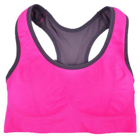 Comfortable Ladies Yoga Sports Bra Breathable Seamless Fabric Supportive - RED 89R1 L