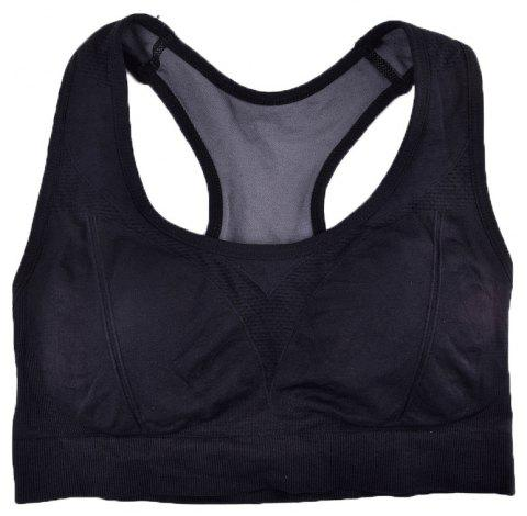 Comfortable Ladies Yoga Sports Bra Breathable Seamless Fabric Supportive - BLACK 2R2610 L