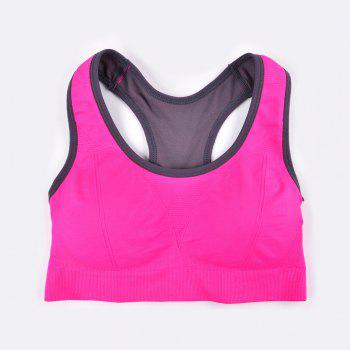 Comfortable Ladies Yoga Sports Bra Breathable Seamless Fabric Supportive - RED R  RED R