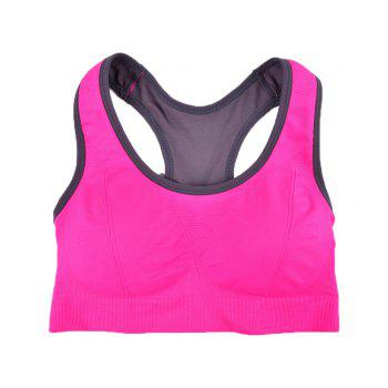 Comfortable Ladies Yoga Sports Bra Breathable Seamless Fabric Supportive - RED 89R1# RED R