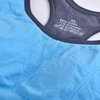 Comfortable Ladies Yoga Sports Bra Breathable Seamless Fabric Supportive - BLUE L