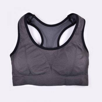 Comfortable Ladies Yoga Sports Bra Breathable Seamless Fabric Supportive - GREY T / M