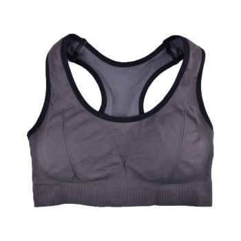 Comfortable Ladies Yoga Sports Bra Breathable Seamless Fabric Supportive - GREY T4503/1001# GREY T /