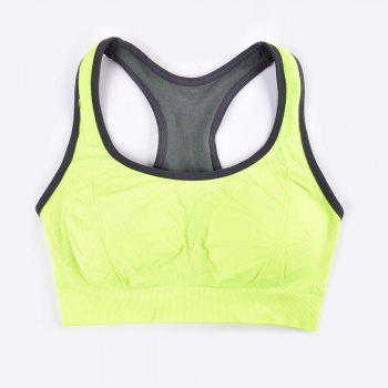 Comfortable Ladies Yoga Sports Bra Breathable Seamless Fabric Supportive - GREEN /  GREEN /