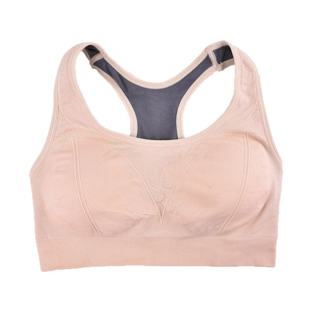 Comfortable Ladies Yoga Sports Bra Breathable Seamless Fabric Supportive - BEIGE / B L