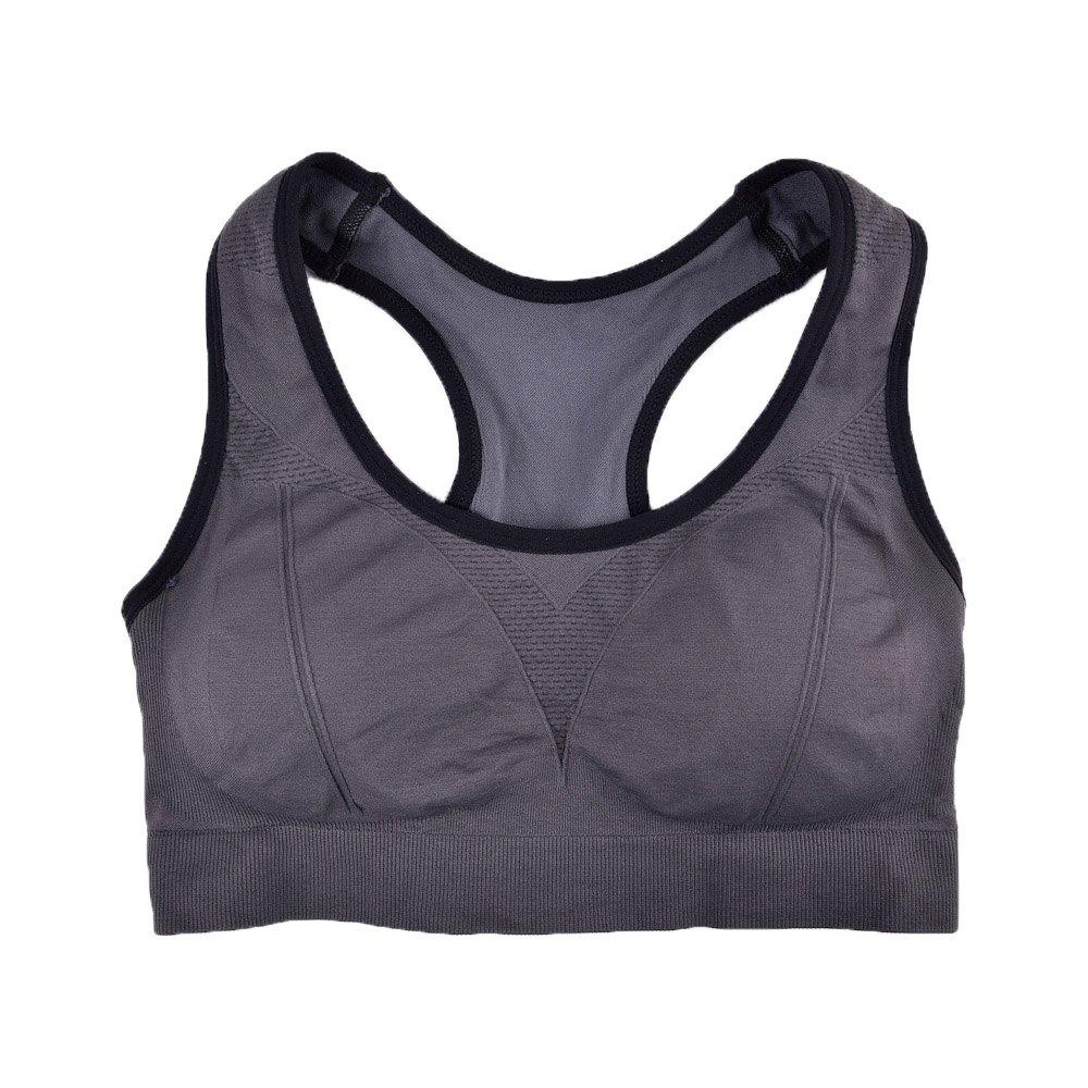 Comfortable Ladies Yoga Sports Bra Breathable Seamless Fabric Supportive - GREY T / S