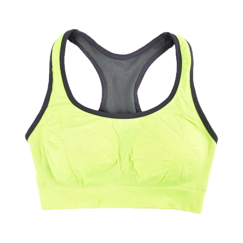 Comfortable Ladies Yoga Sports Bra Breathable Seamless Fabric Supportive - GREEN / L