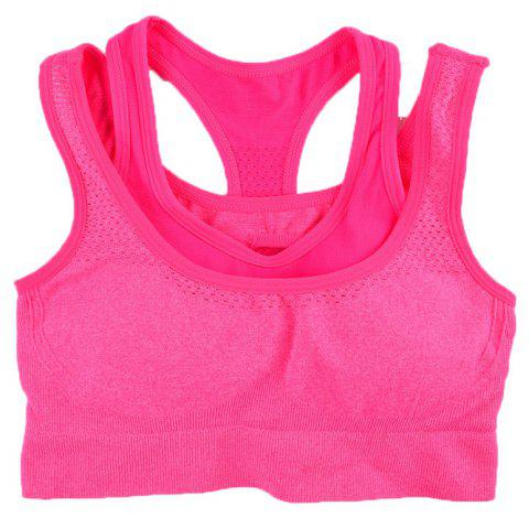 2017 Women's Comfortable Seamless Sports Bra Double Strap Design - RED 89R1 S