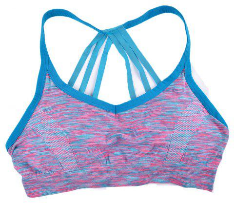 Sexy Heather Color Seamless Sports Bra Fashion Strap Design - BLUE 3930 S