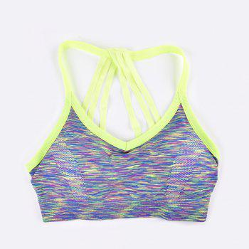 Sexy Heather Color Seamless Sports Bra Fashion Strap Design - GREEN /  GREEN /