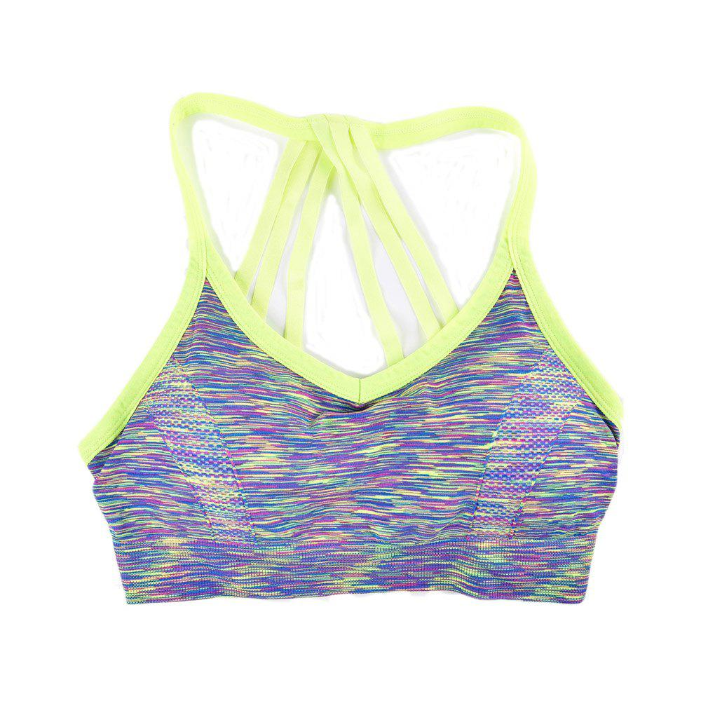 Sexy Heather Couleur Seamless Sports Bra Conception de sangle de mode - / L