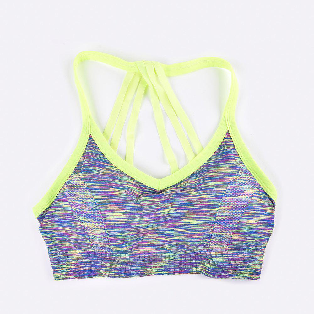 Sexy Heather Color Seamless Sports Bra Fashion Strap Design - GREEN / M