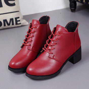 Autumn and Winter Women's Leather Shoes Round Head High Heels Martin British Wind Naked Rough Short Cylinder Boots - BURGUNDY 37