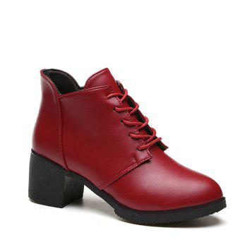 Autumn and Winter Women's Leather Shoes Round Head High Heels Martin British Wind Naked Rough Short Cylinder Boots - BURGUNDY BURGUNDY