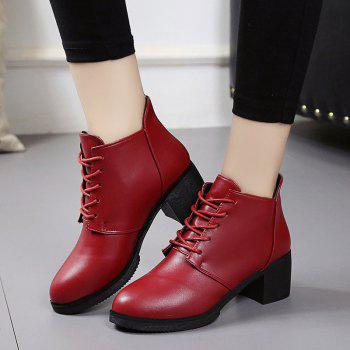 Autumn and Winter Women's Leather Shoes Round Head High Heels Martin British Wind Naked Rough Short Cylinder Boots - BURGUNDY 36