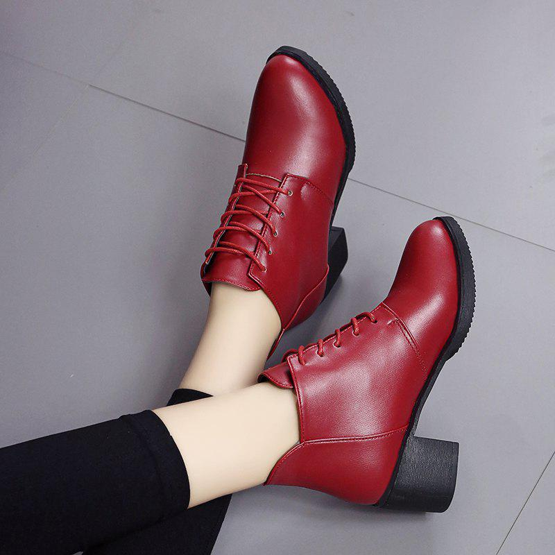 Autumn and Winter Women's Leather Shoes Round Head High Heels Martin British Wind Naked Rough Short Cylinder Boots - BURGUNDY 35