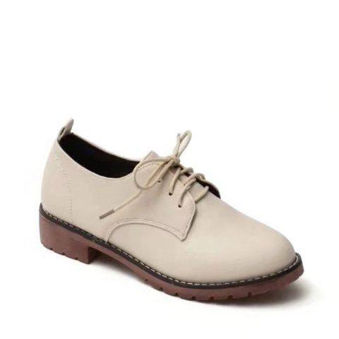Autumn Thick Bottom England Preppy Chic Leather Students Leisure Single Shoes Girl - BEIGE 36