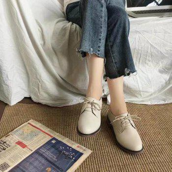 Autumn Thick Bottom England Preppy Chic Leather Students Leisure Single Shoes Girl - BEIGE 35