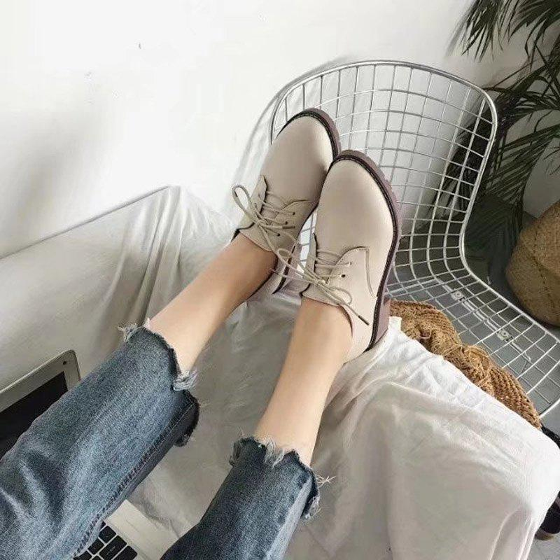 Autumn Thick Bottom England Preppy Chic Leather Students Leisure Single Shoes Girl - BEIGE 39