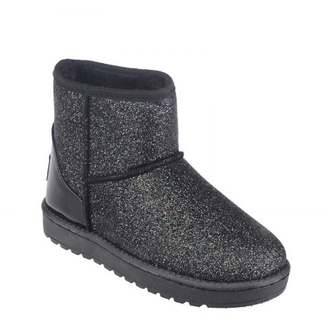 New Fashion Sequins Low Cylinder Shoes Thickened In Winter Snow Boots Women - BLACK 38
