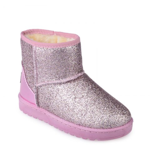 New Fashion Sequins Low Cylinder Shoes Thickened In Winter Snow Boots Women - PINK 40