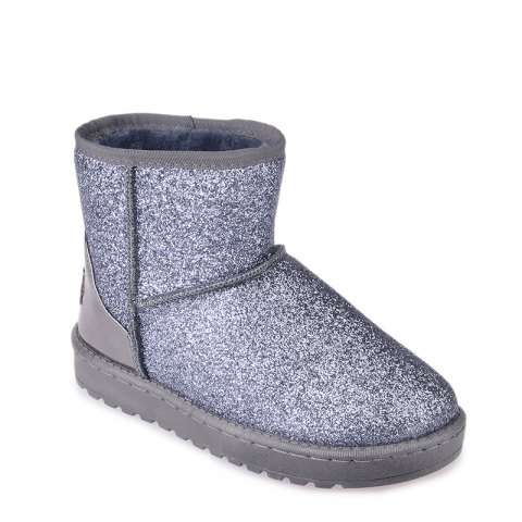 New Fashion Sequins Low Cylinder Shoes Thickened In Winter Snow Boots Women - SILVER 37