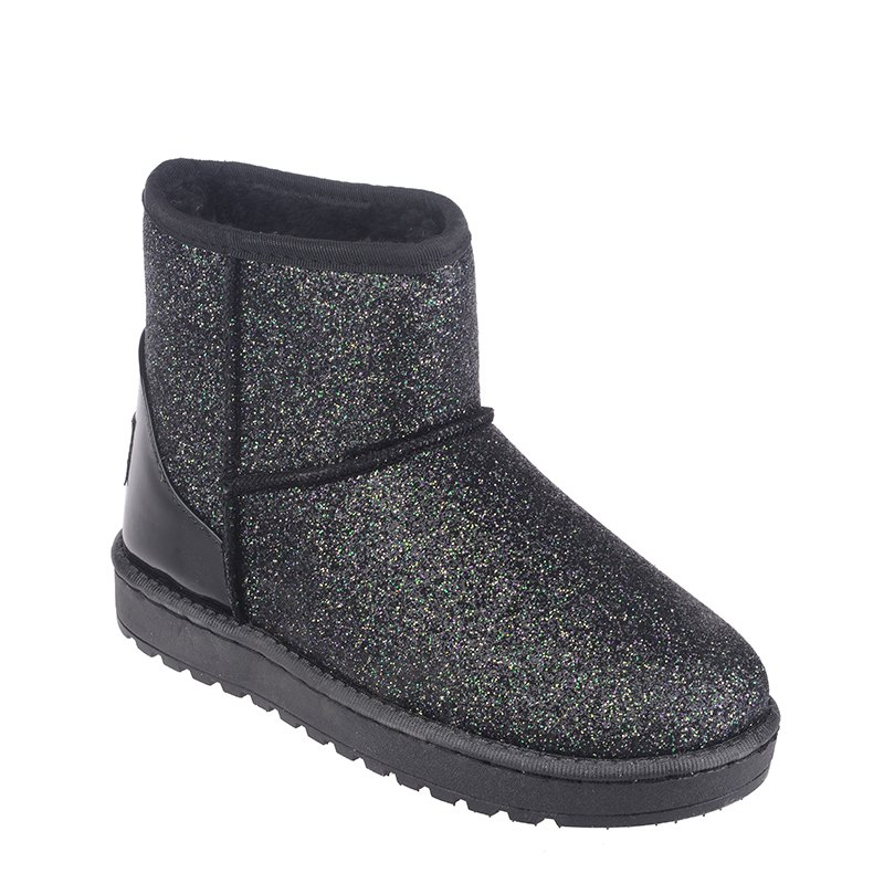 New Fashion Sequins Low Cylinder Shoes Thickened In Winter Snow Boots Women - BLACK 36