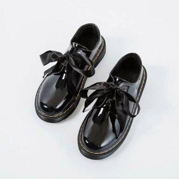 Fraenulum Single Fashion Bow Tie Thick Soles Of Small Leather Women's Shoes - BLACK BLACK