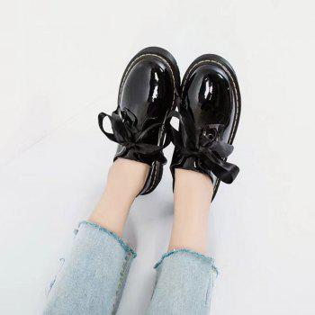 Fraenulum Single Fashion Bow Tie Thick Soles Of Small Leather Women's Shoes - BLACK 35