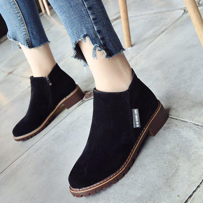 Winter New British Style Martin Short Boots Fashion Women's Shoes - BLACK 36