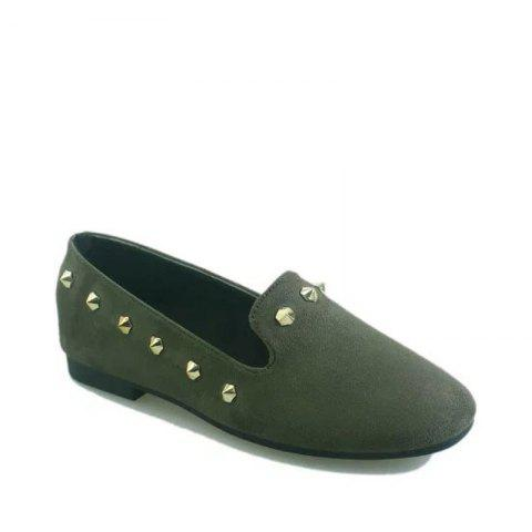 New Style Fashion Rivet Flat Keel Moccasin-Gommino Women Shoe - HAMPTON GREEN 37