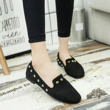 New Style Fashion Rivet Flat Keel Moccasin-Gommino Women Shoe - BLACK BLACK