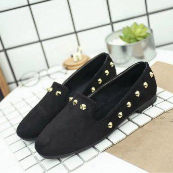 New Style Fashion Rivet Flat Keel Moccasin-Gommino Women Shoe - BLACK 35