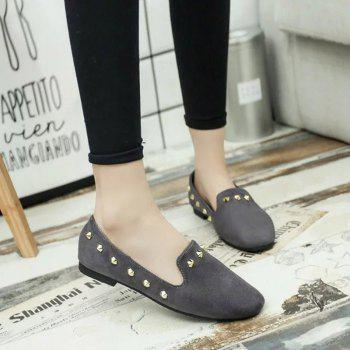 New Style Fashion Rivet Flat Keel Moccasin-Gommino Women Shoe - GRAY GRAY