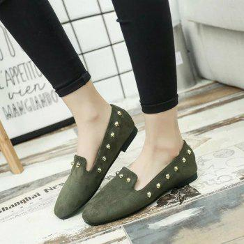 New Style Fashion Rivet Flat Keel Moccasin-Gommino Women Shoe - HAMPTON GREEN 36
