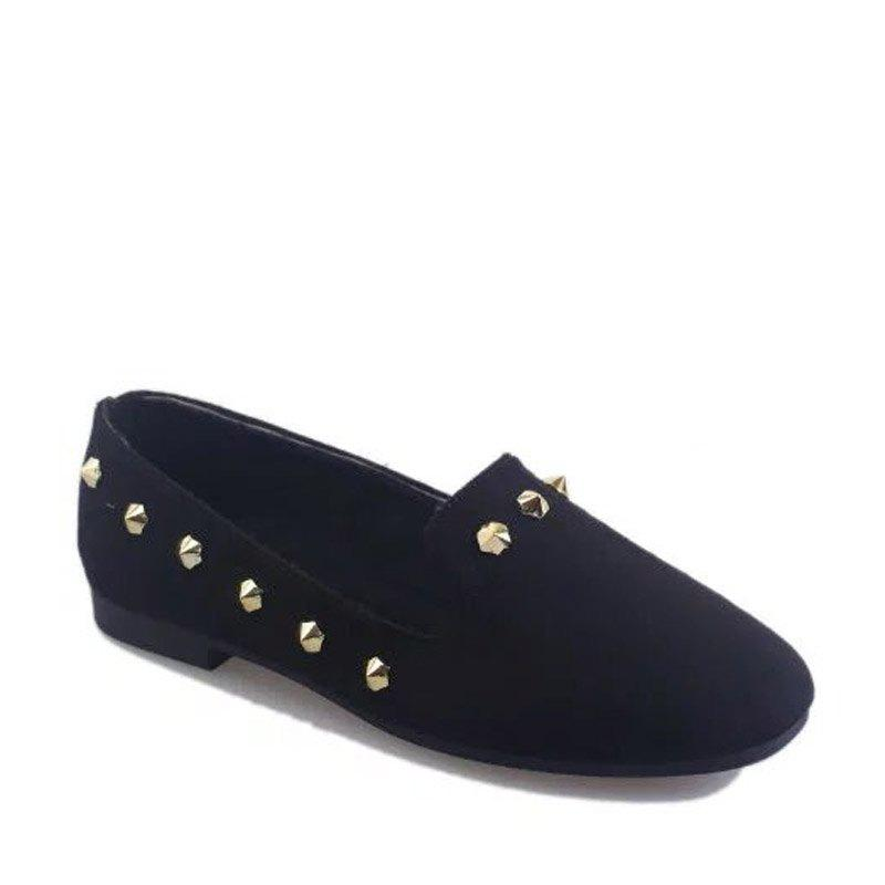 New Style Fashion Rivet Flat Keel Moccasin-Gommino Women Shoe - BLACK 37