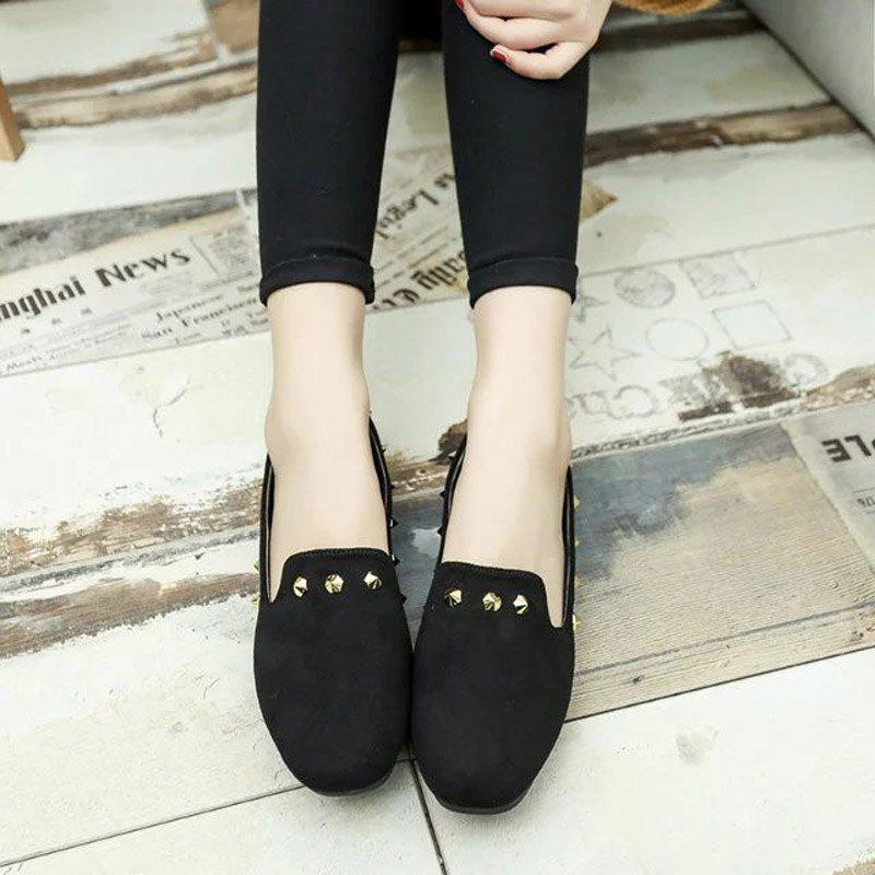 New Style Fashion Rivet Flat Keel Moccasin-Gommino Women Shoe - BLACK 36