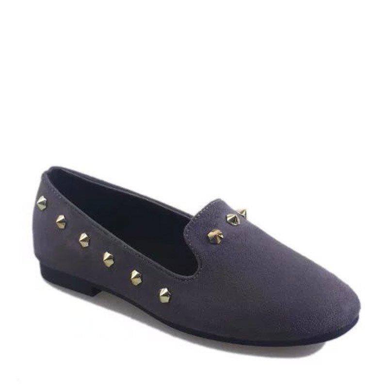 New Style Fashion Rivet Flat Keel Moccasin-Gommino Women Shoe - GRAY 39