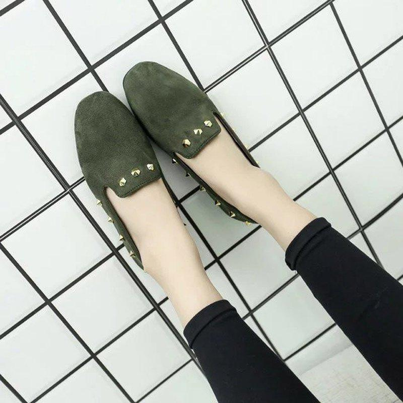 New Style Fashion Rivet Flat Keel Moccasin-Gommino Women Shoe - HAMPTON GREEN 38