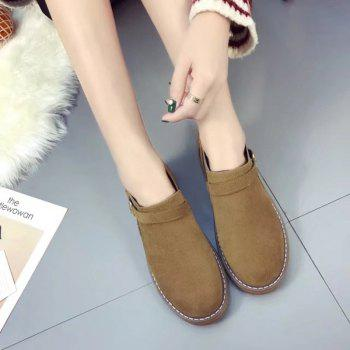 Peret New Style Fashion All-match Thick Round Bottom Short Canister Snow Boots - BROWN BROWN