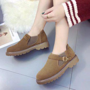 Peret New Style Fashion All-match Thick Round Bottom Short Canister Snow Boots - BROWN 39