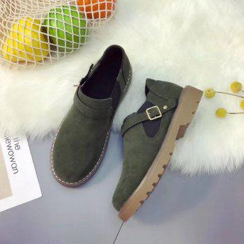 Peret New Style Fashion All-match Thick Round Bottom Short Canister Snow Boots - HAMPTON GREEN 37