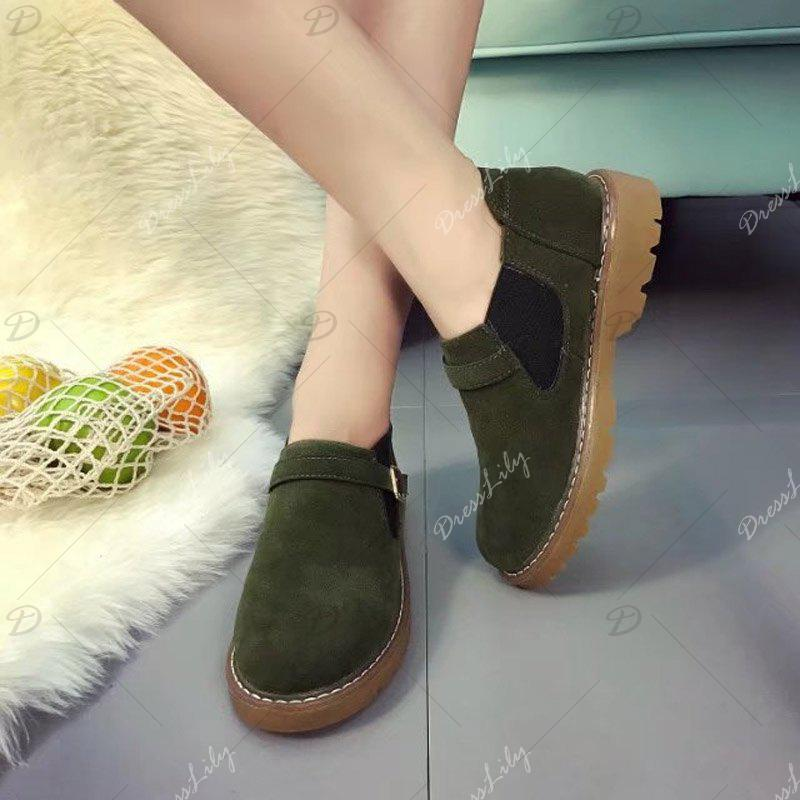Peret New Style Fashion All-match Thick Round Bottom Short Canister Snow Boots - HAMPTON GREEN 38