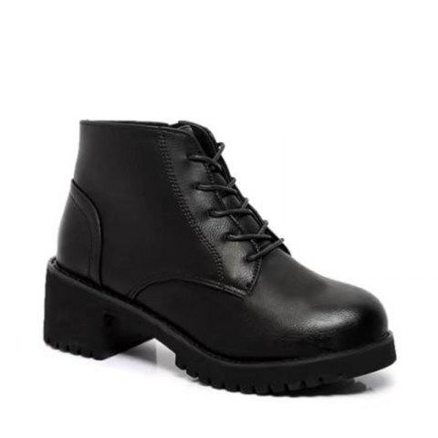 Winter New Style European and American Wind  Martin Boots Women's Fashion Short - BLACK 35