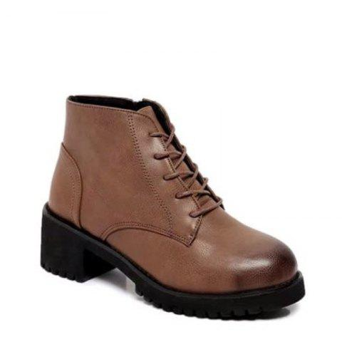 Winter New Style European and American Wind  Martin Boots Women's Fashion Short - BROWN 38