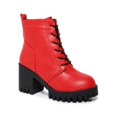 Autumn and Winter Women's Shoes  British Wind Frenulum High Martin Coarse Heel Cylinder Boots - RED 39