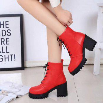 Autumn and Winter Women's Shoes  British Wind Frenulum High Martin Coarse Heel Cylinder Boots - RED 37