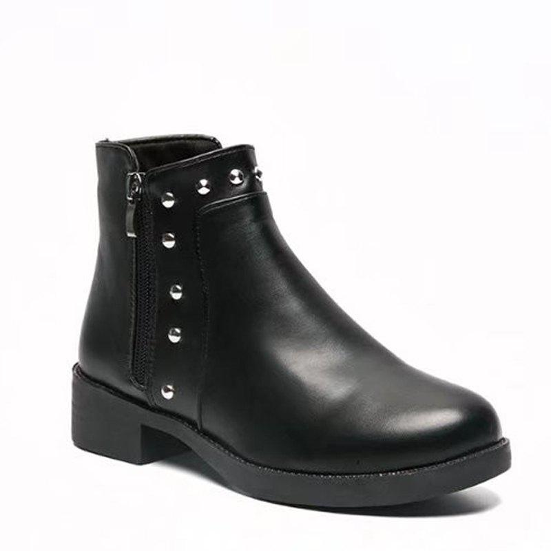 Winter Korean Version Rough Heel Martin Flat Chelsea Short Boots Female - BLACK 38
